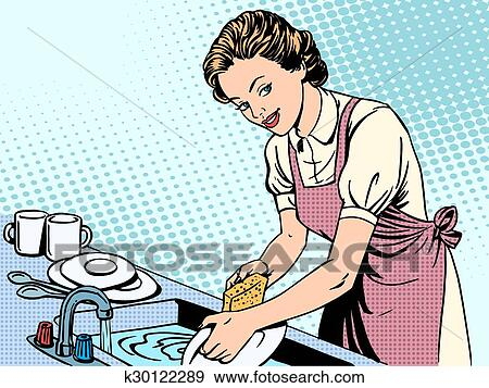 Frau, abwasch, hausfrau, hausarbeit, troesten Clip Art | k30122289 | Fotosearch