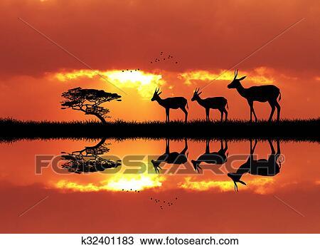 Dessin gazelle dans africaine paysage k32401183 - Dessin paysage africain ...