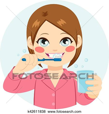 clip art of girl brushing teeth k42611838 search clipart