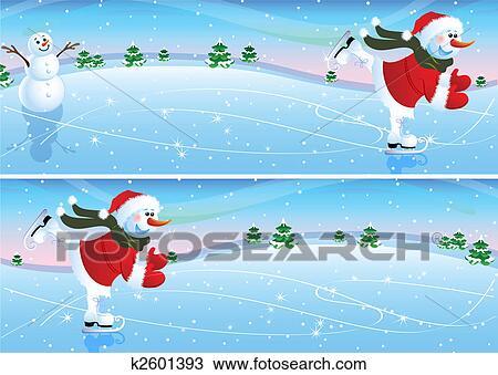 Clipart bonhomme de neige sur a patinoire k2601393 recherchez des clip arts des - Clipart bonhomme de neige ...