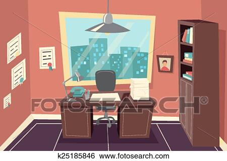Clip Art of Stylish Business Working Office Room Background Desk ...