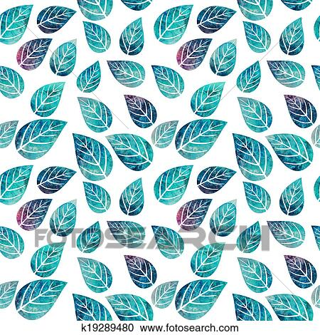 Stock Illustrations Of Watercolor Seamless Pattern On Leaves Theme