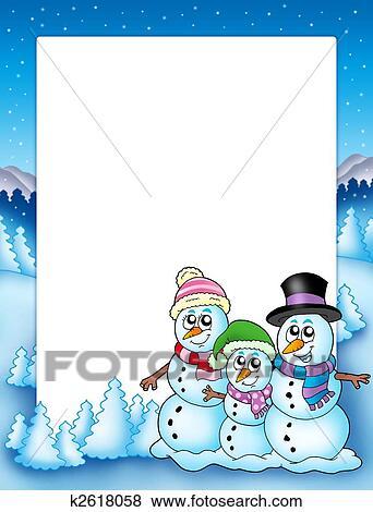 冬 フレーム で 雪だるま 家族 イラスト K2618058 Fotosearch