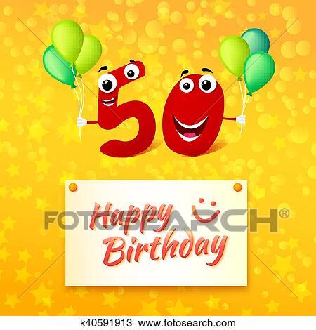 Clipart 50 Jaren Gelukkige Verjaardag Kleurrijke Begroetende
