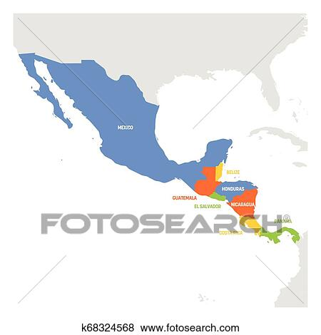 Central America Region. Map of countries in central part of America. Vector  illustration Clip Art