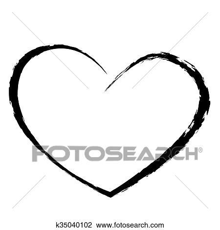 Coracao Preto Desenho Amor Valentine Clipart K35040102