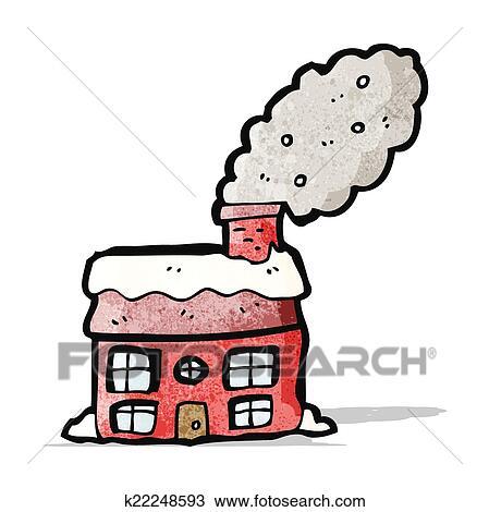 Clipart Dessin Anime Petite Maison A Cheminee Fumant K22248593