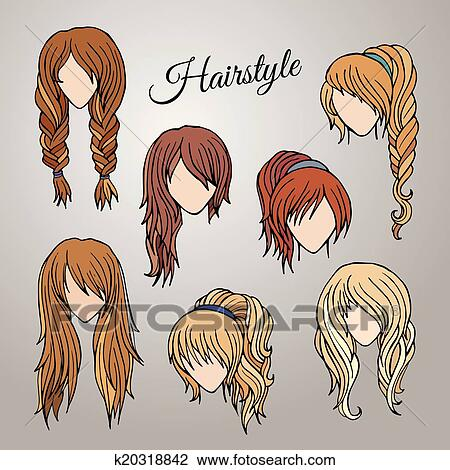 Clipart Of Different Cartoon Hairstyles K20318842 Search Clip Art