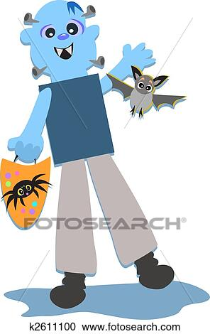 clipart of halloween monster with bat and spider bag k2611100 rh fotosearch com All Halloween Pictures Clip Art Disney Halloween Clip Art