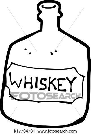 Klipart Kresleny Film Stara Whisky Fľasa K17734731