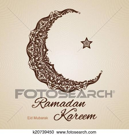 Clipart of ramadan kareem greeting card k20739450 search clip art brown ornate crescent with star on beige background greeting card of holy muslim month ramadan m4hsunfo