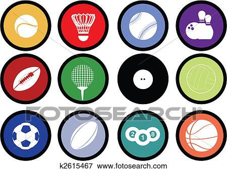 clip art of sports balls buttons k2615467 search clipart rh fotosearch com  clipart sports balls
