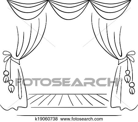 Clip Art Of Theater Stage Vector Sketch K19060738