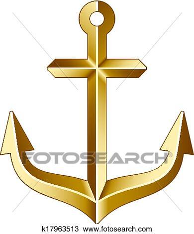 Clipart Of Vector Golden Anchor K17963513