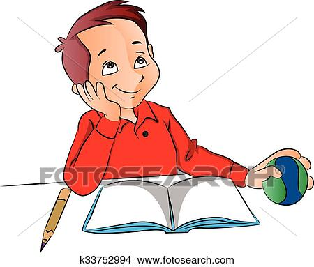 Clipart Of Vector Boy Dreaming With Ball Book And Pencil On Desk