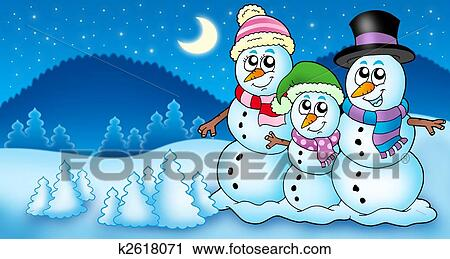 Clipart Of Winter Landscape With Snowman Family K2618071