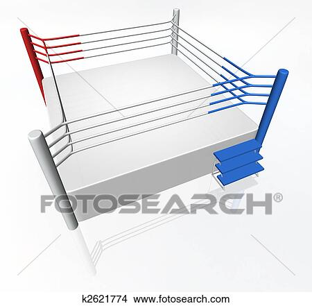 Drawings of boxing ring k2621774 search clip art illustrations 3d boxing ring with red and blue corner ccuart Images
