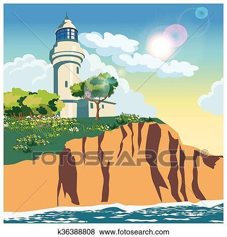 Clip Art Faro Su Uno Scogliera K36388808 Cerca Clipart