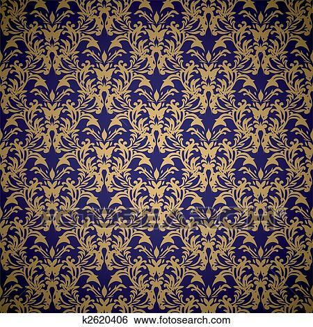 Stock Illustration Of Floral Royal Wallpaper K2620406