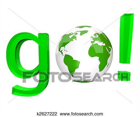 clip art of go green word and white globe k2627222 search