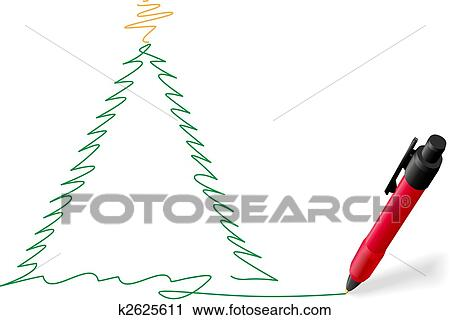 Merry Christmas Writing.Red Ink Pen Writing Merry Christmas Tree Drawing Clipart
