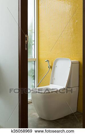 Toilette, innere, modernes, eigenheim Stock Fotograf