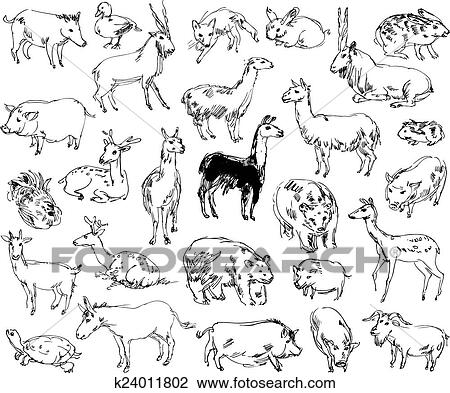 Image of: Kids Wild Animals Zoo Set Handdrawn Vector Illustration Isolated On White Background Set Fotosearch Clipart Of Wild Animals Zoo Set Handdrawn K24011802 Search
