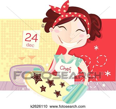 Baking Christmas Cookies Clipart.Woman Is Making Christmas Cookies Clipart