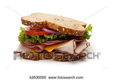 Stock Photography Of A Turkey Sandwich On Whole Grain Bread K2630000