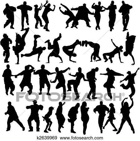 Clip Art Of Crowd Dancing K2639969