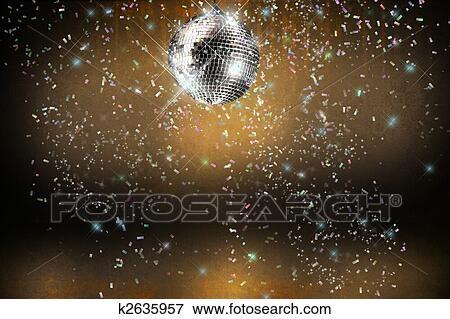 Discobal Met Licht : Beeld disco bal met lichten en confetti feestje