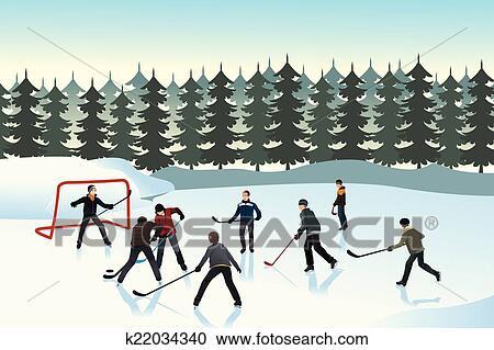 Clipart hommes jouer hockey glace ext rieur k22034340 recherchez des clip arts des - Dessin patinoire ...