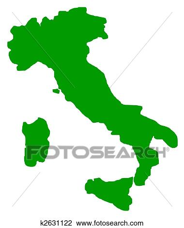 Clip Art of Italy map outline k2631122 - Search Clipart ...