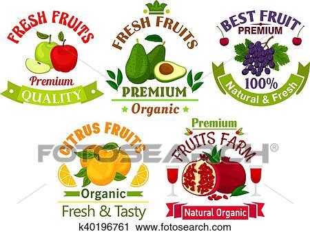 Exceptionnel Clipart - mieux, frais, juteux, fruits, autocollants, et  DK77