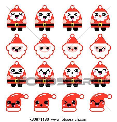 Clipart Kawaii Père Noël Mignon Caractère K30871186