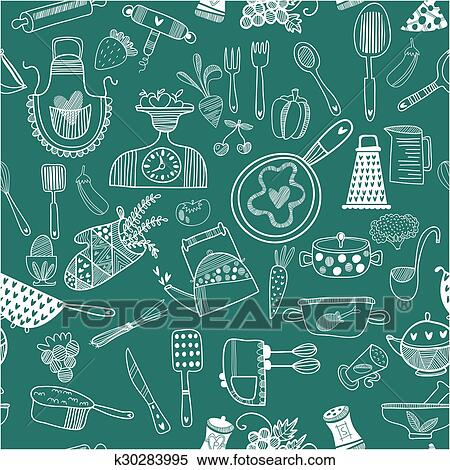 Seamless Vector Pattern Kitchenfood Background Cartoon