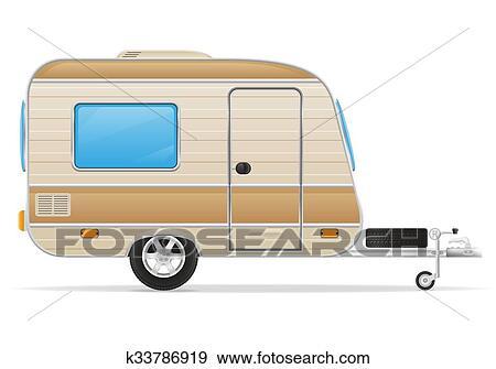 Trailer Caravan Mobil Home Vector Illustration Isolated On White Background