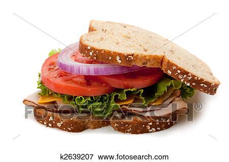 Picture Of Turkey Sandwich On Whole Grain Bread K2639207 Search