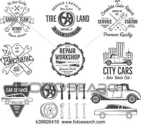 Clip Art Of Vintage Car Service Badges Garage Repair Retro Labels
