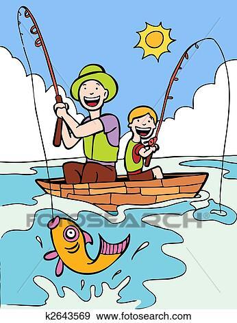 الأب إبن رحلة الصيد للسمك Clip Art K2643569 Fotosearch