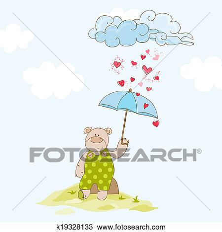 Drawing Of Baby Bear With Umbrella Baby Shower Card In Vector