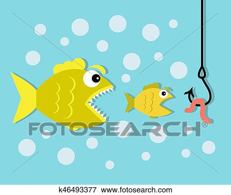 Clip art of big fish eat little fish hook and worm bait k46493377 a small fish wants to eat a worm on a hook and a big predator fish wants to eat a small fish thecheapjerseys Choice Image