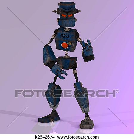 Cartone animato robot con espressivo emozione in suo faccia