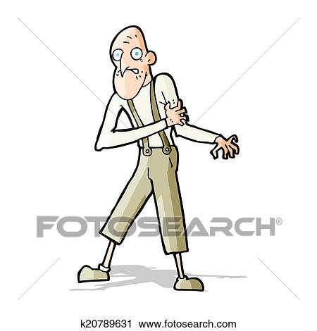 clipart of cartoon old man having heart attack k20789631 search rh fotosearch com Heart Clip Art Heart Attack Survivor Clip Art