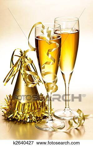 Champagne And New Years Party Decorations Stock Photo K2640427 Fotosearch