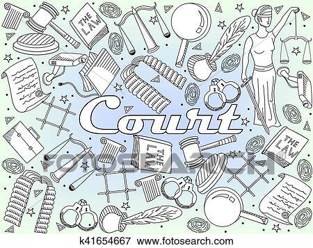Clip Art - conjunto, ley, y, justicia, vector, libro colorear ...