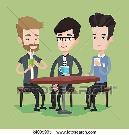 Clipart Of Group Men Drinking Hot And Alcoholic Drinks K40959951