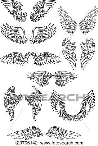 Heraldic 鳥 あるいは 天使翼 セット クリップアート切り張り