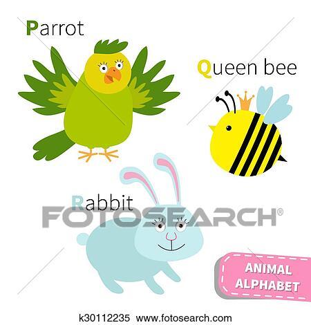 Clipart Lettera P Q R Pappagallo Ape Regina Coniglio Zoo