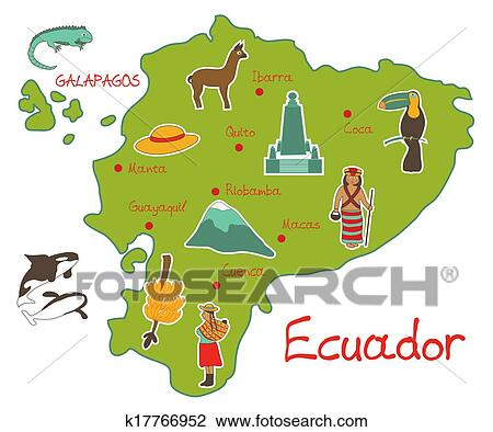 Clipart of map of ecuador with typical features k17766952 search clipart map of ecuador with typical features fotosearch search clip art illustration publicscrutiny Choice Image